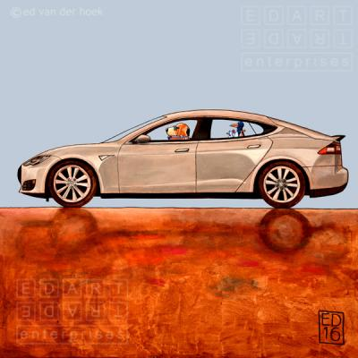 Picking up birds in Tesla. Dogs and birds by Ed van der Hoek