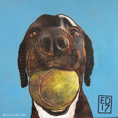 Having a ball. A dog portrait. Painting by Ed van der Hoek.