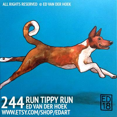 Run Tippy Run. Rennende Basenji  door Ed van der Hoek.