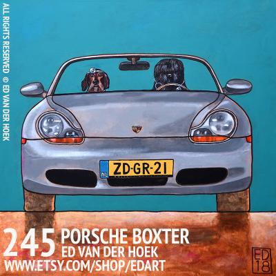245 PORSCHE BOXTER. Painting dogs in cars by Ed van der Hoek.
