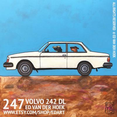 247 VOLVO 242 DL Painting cat in a car by Ed van der Hoek.