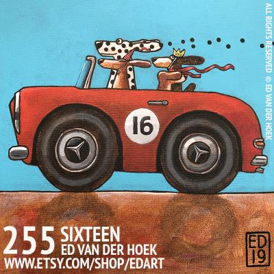 255 SIXTEEN Painting dogs in Mercedes by Ed van der Hoek.