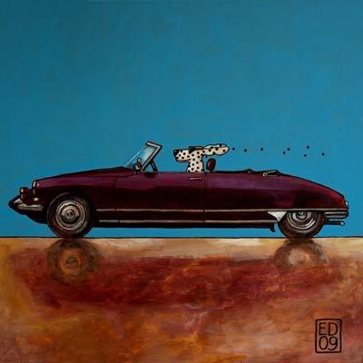 Citroen ds cabrio ansichtkaart en gicl e print met afdruk van het schilderij citroen ds cabrio - Poel van blanco hoek ...